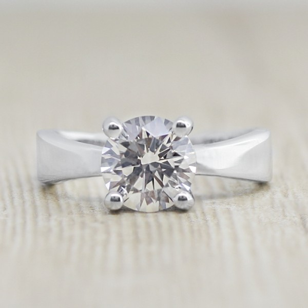 Joanie with 2.04 carat Round Brilliant Center - 14k White Gold - Ring Size 6.0-8.0