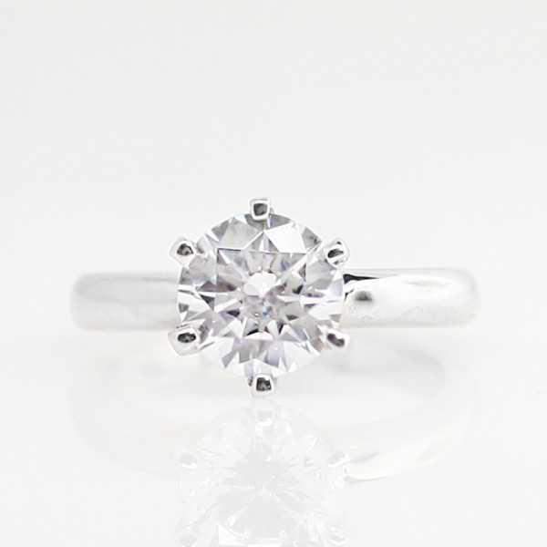Jonquil with 1.67 carat Round Brilliant Center - 14k White Gold - Ring Size 4.0-7.0