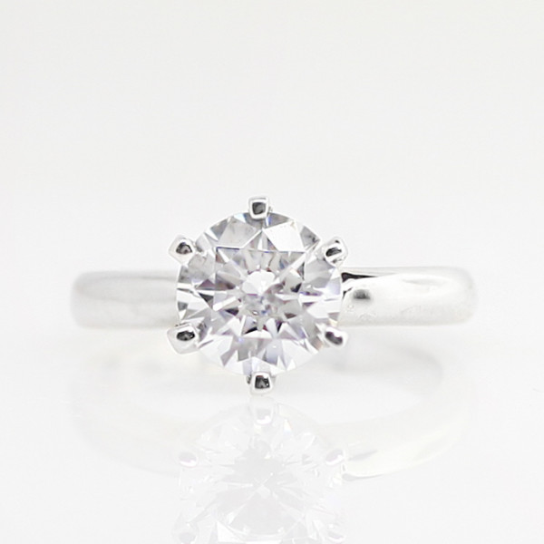Jonquil with 3.87 carat Round Brilliant Center - 14k White Gold - Ring Size 5.0-9.0