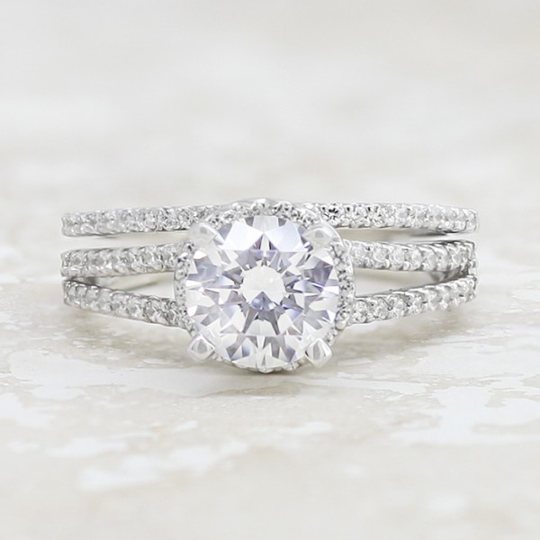 Josephine with 1.28 carat Round Brilliant Center with Soldered Matching Band - 14k White Gold - Ring Size 5.5