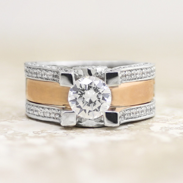 Discontinued Kismet II with 1.28 carat Round Brilliant Center - 14k White and Rose Gold - Ring Size 7.75