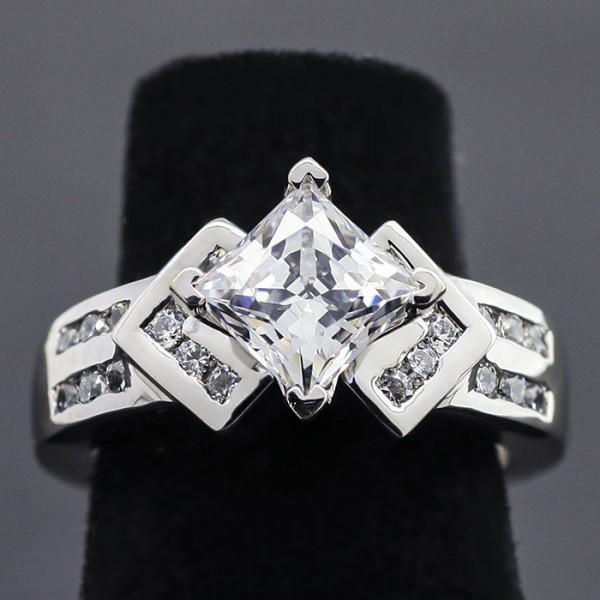 Kite-Set Princess cut Ring with 1.59 carat Center - 14k White Gold - Ring Size 7.0