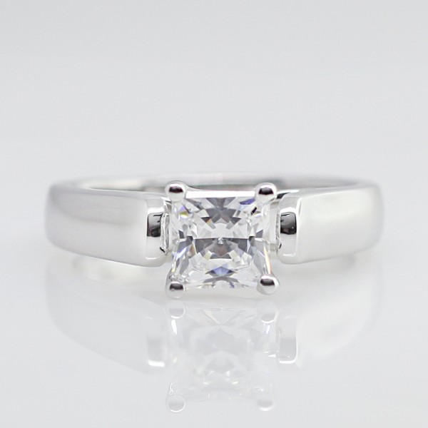 Lareda - 0.99 Princess Cut, 14k White Gold - Size 5.75