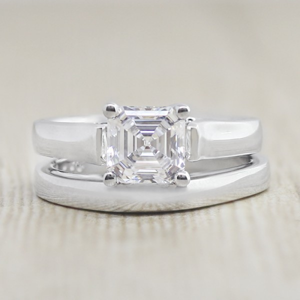 Lareda with 1.59 carat Asscher Center and Matching Band - 14k White Gold - Ring Size 4.5-8.0