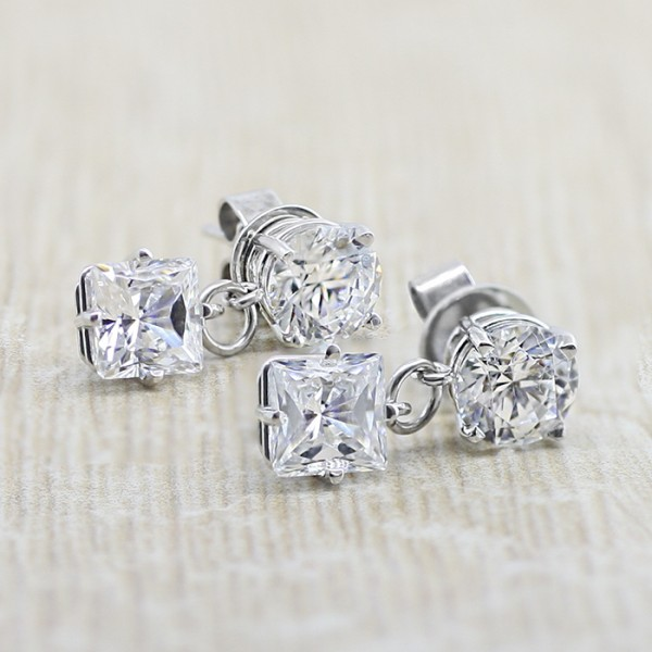 Leto Style Earrings with Princess cut Stones - 2.27 carats each - 14k White Gold