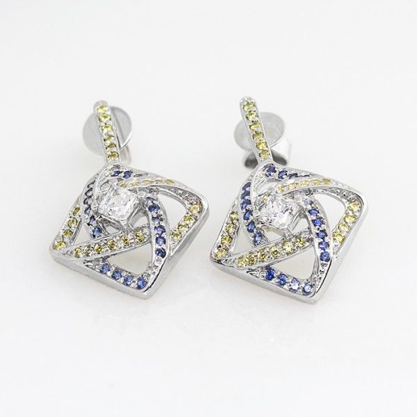 Mimza Earrings with Canary and Sapphire Accents - Lorian Platinum