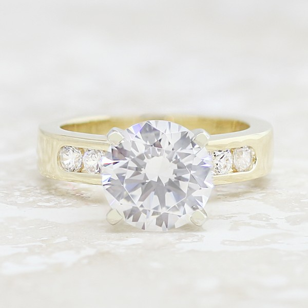 Lightning Strikes with 2.75 carat Round Brilliant Center - 14k Yellow Gold - Size 4.5-7.5