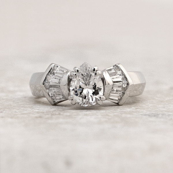 Discontinued London with 1.75 carat Pear Center - 14k White Gold - Ring Size 8.0-8.5