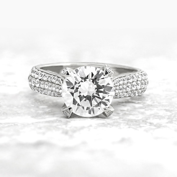 Discontined Louvre with 2.55 carat Round Brilliant Center - 14k White Gold - Ring Size 6.75