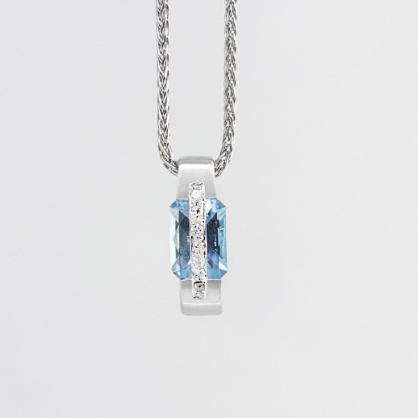 Light Blue Topaz Pendant with Accents - 14k White Gold