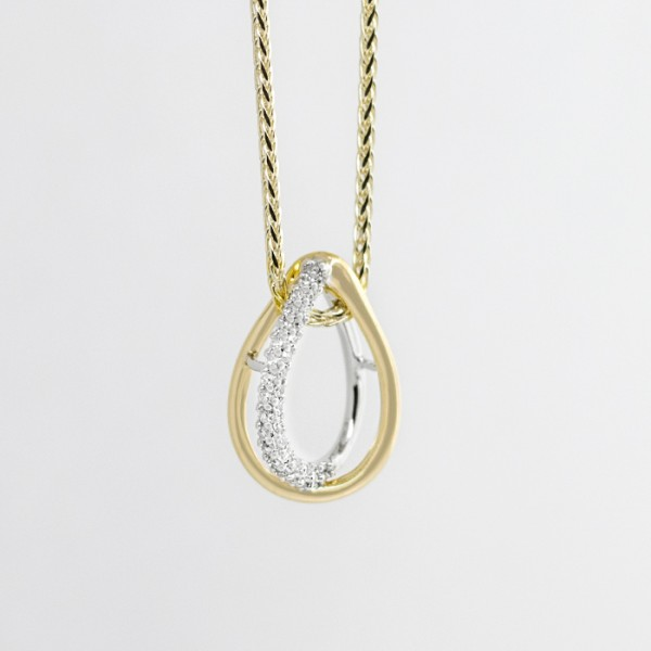 Open Loop Pendant -14k Yellow and White gold