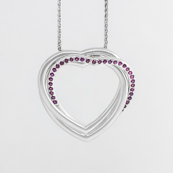 Traipse Heart Pendant with Ruby - Lorian Platinum