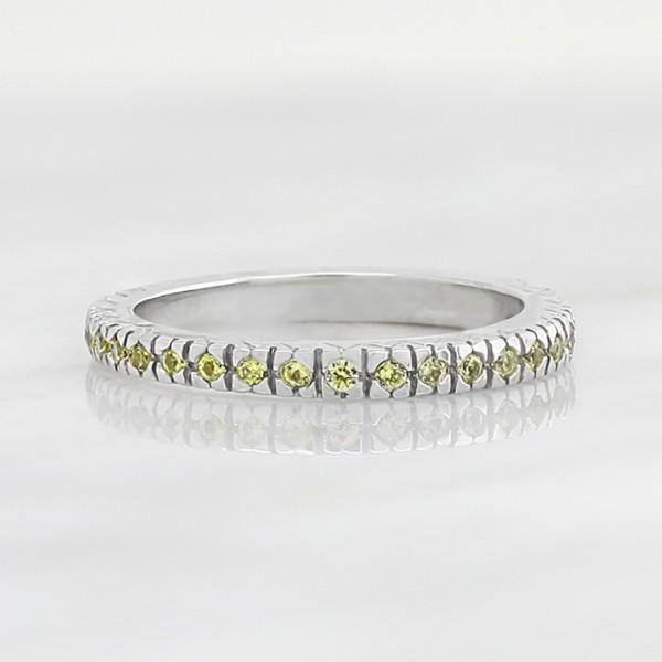 Canary Bezel Set Eternity Band - 14k White Gold - Ring Size 4.5