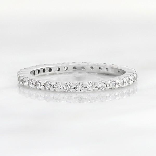 Petite Round Brilliant Eternity Band- 14k White Gold - Ring Size 4.5