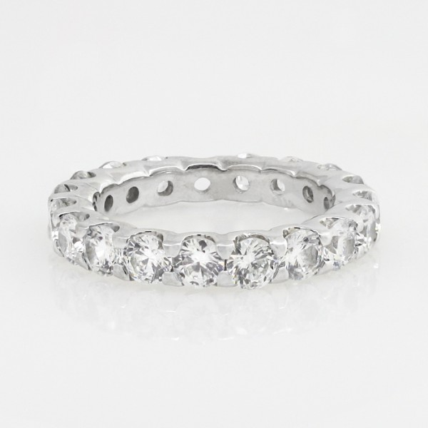 Round Brilliant 2.66 Total Carat Weight Eternity Band - 14k White Gold - Ring Size 5.75