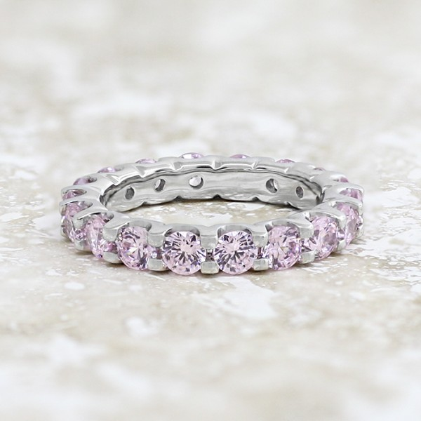 Eternity Band with Rose Stones - 14k White Gold - Ring Size 4.5