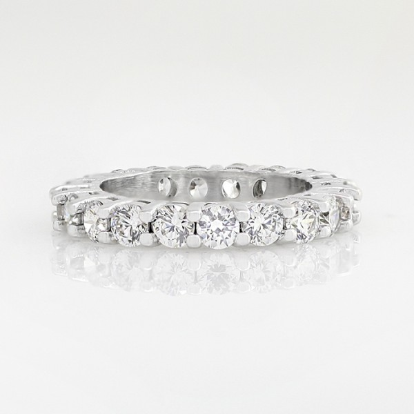 Eternity Band with 2.8 Total Carat Weight - 14k White Gold - Ring Size 5.75