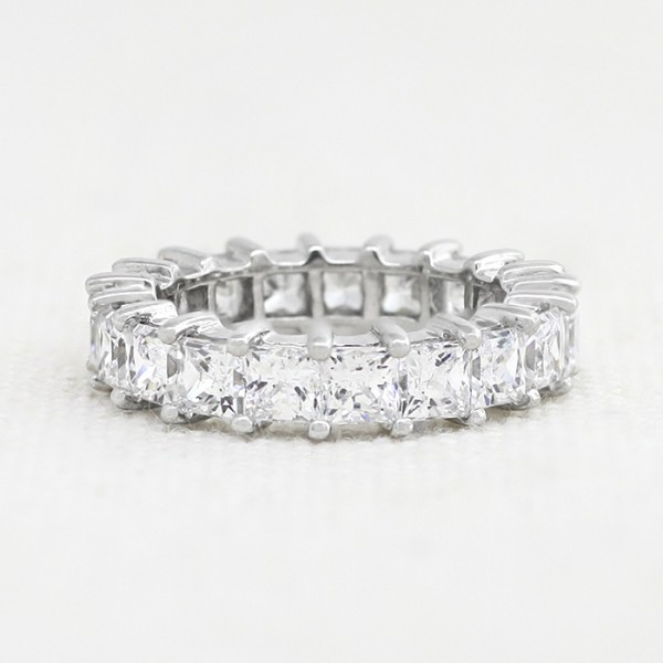 Princess Cut Eternity Band - 14k White Gold - Ring Size 6.0