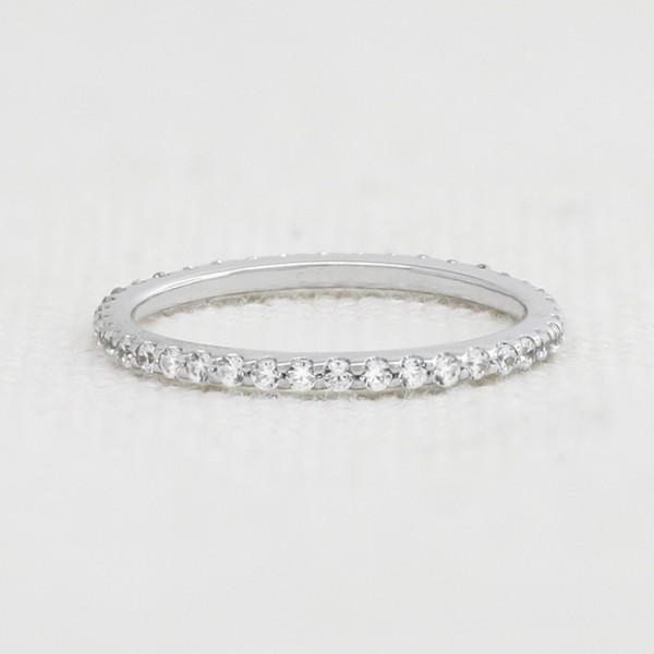 Petite Round Brilliant Eternity Band - 14k White Gold - Ring Size 4.5