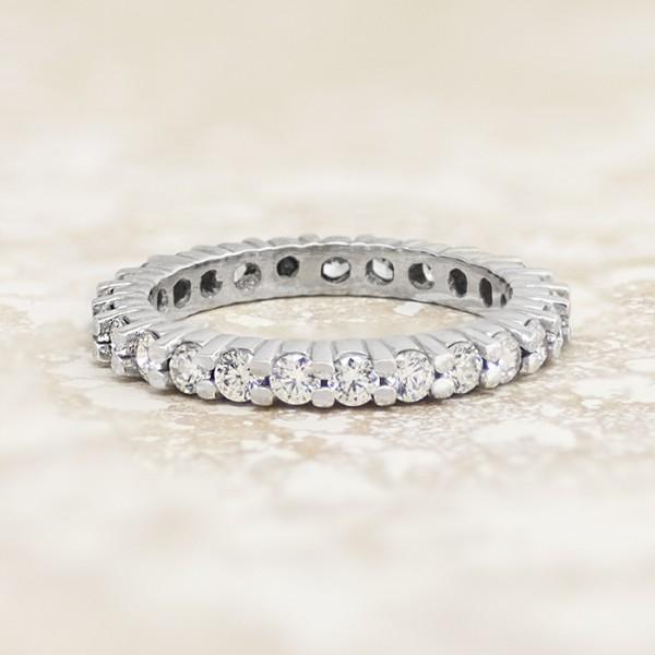 Round Brilliant Eternity Band - 14k White Gold - Ring Size 6.0