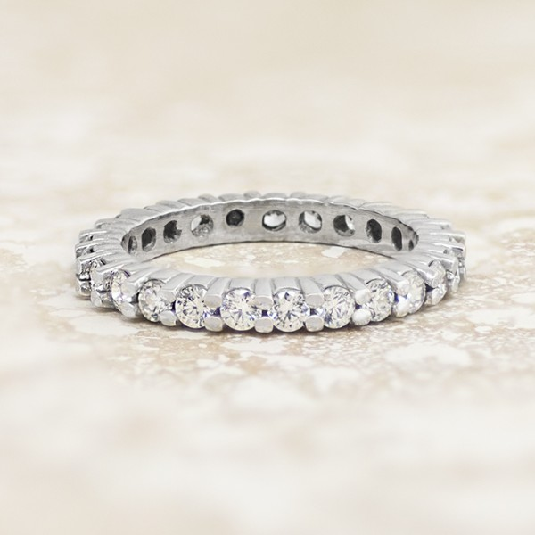 Round Brilliant Eternity Band with 1.35 Total Carat Weight - 14k White Gold - Ring Size 8.25