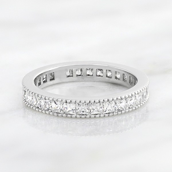 Princess Cut Eternity Band with Millgraine Detailing - 14k White Gold - Ring Size 6.0