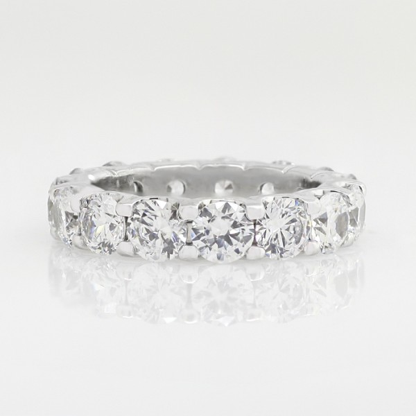 Round Brilliant Eternity Band with 6.9 Total Carat Weight - 14k White Gold - Ring Size 9.0
