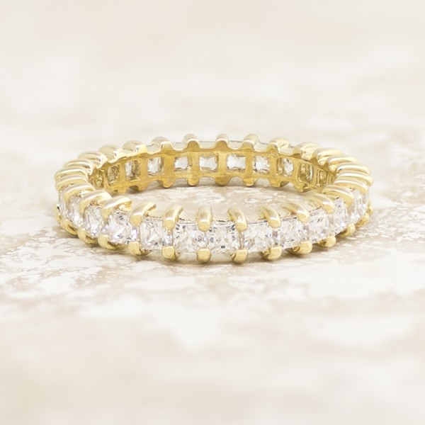 Slim Princess Cut Eternity Band - 14k Yellow Gold - Ring Size 9.5