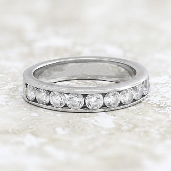 Bold Semi-Eternity Band with Round Brilliant Stones - 14k White Gold - Ring Size 7.0-8.0