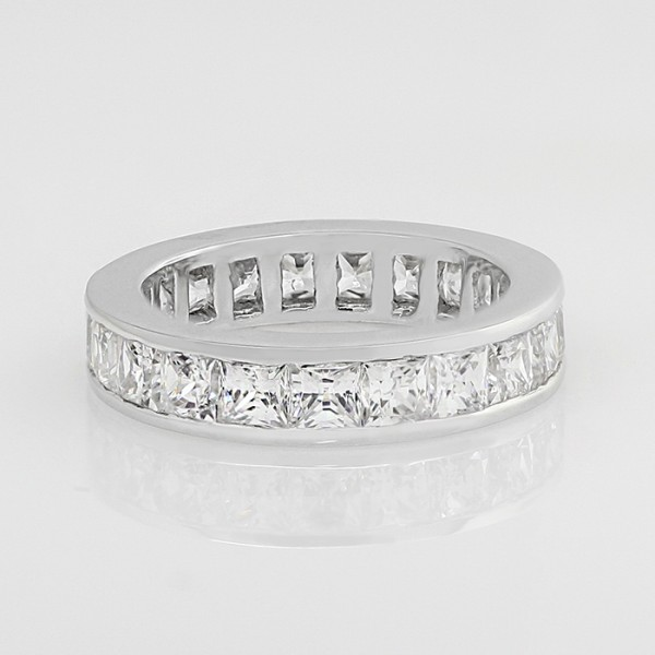 Simple Pleasures with 4.14 Total Carat Weight - 18k White Gold - Ring Size 5.0