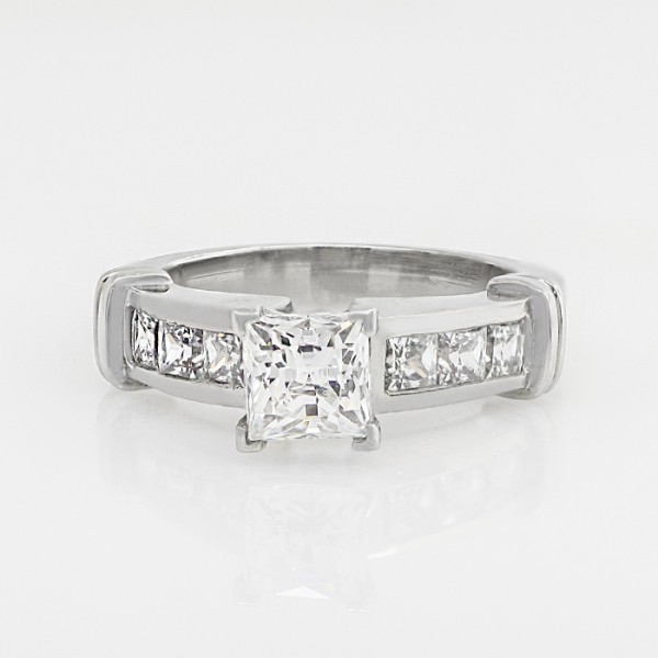 Boucheron with 0.99 Princess Cut - 14k White Gold - Ring Size 8.0