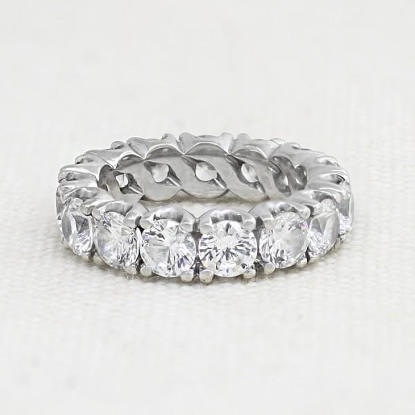 5.98 carat Round Brilliant Eternity Band - 14k White Gold - Ring Size 6.0