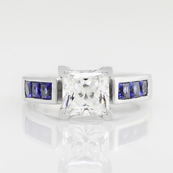 Color My World with 1.59 carat Princess Center and Sapphire Accents - Palladium - Ring Size 6.0-8.0