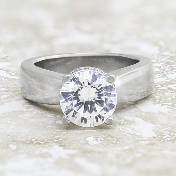 Ring With Lowered Halo and 2.04 carat Round Brilliant Center - 14k White Gold - Ring Size 4.0-6.0