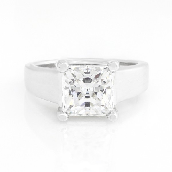 Solitaire with 3.01 carat Princess Center - 14k White Gold - Ring Size 6.0-8.0