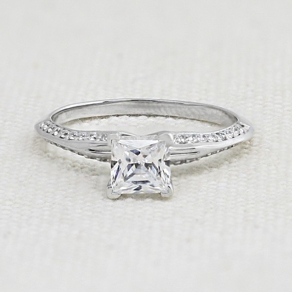 Modified Irene with 1.59 carat Princess Center - 14k White Gold - Ring Size 8.0