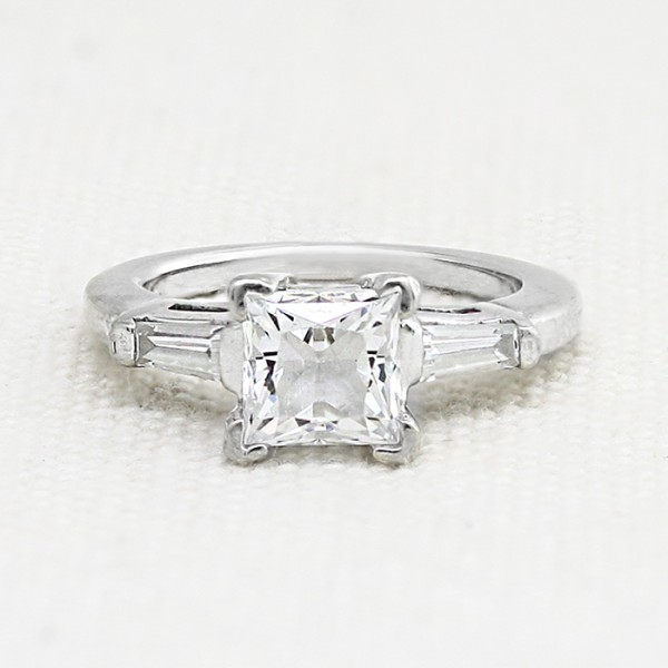 Endless Days with 1.39 carat Princess Center - 14k White Gold - Ring Size 4.75-6.75
