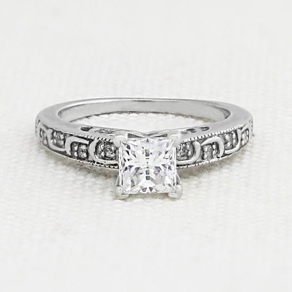 Awakening with 0.75 carat Princess Center - Palladium - Ring Size - Ring Size 4.75-7.75