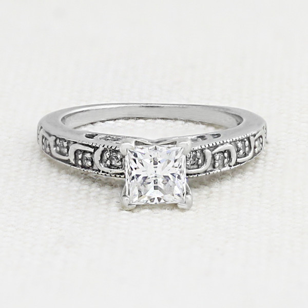 Discontinued Awakening with 1.24 carat Princess Center - 14k White Gold - Ring Size 6.5-7.5