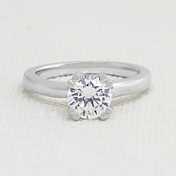 Double Prong Solitaire Engagement Ring with 1.03 carat Round Center - 14k White Gold - Ring Size 4.75-7.75