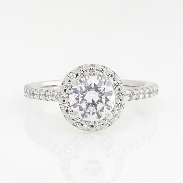 Halo Engagement Ring with 1.03 carat Round Brilliant Center - 14k White Gold - Ring Size 5.75-6.75