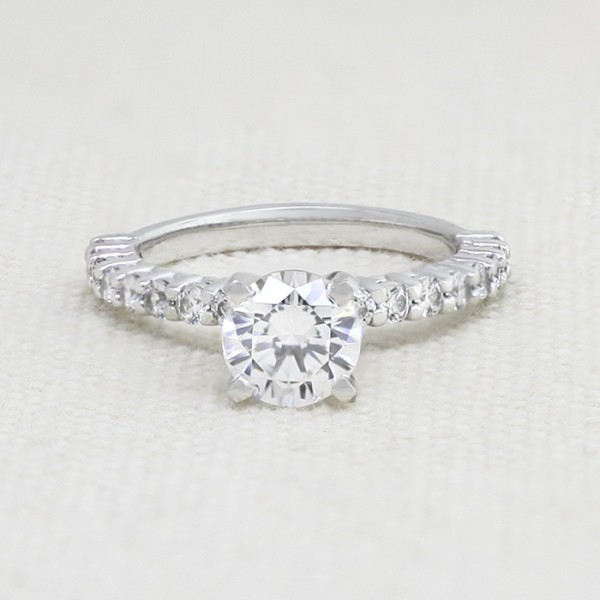 Share Prong Accented Ring with 1.03 carat Round Brilliant Center - 14k White Gold - Ring Size 5.75