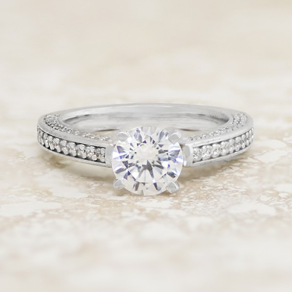 Pave Set Engagement Ring with 1.03 carat Round Brilliant Center - 14k White Gold - Ring Size 5.75-6.75