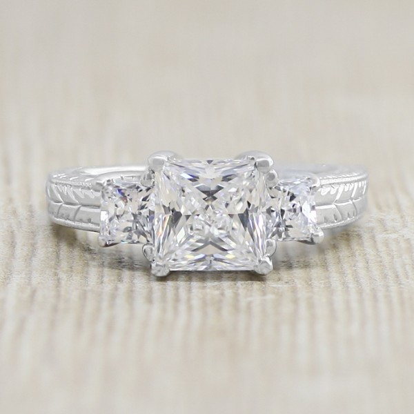 Ornate Three Stone Ring with 1.96 Carat Princess Cut Center - 14k White Gold - Ring Size 6.75
