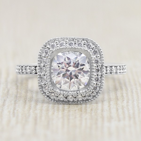 Custom Tiffany Legacy With 1 24 Carat Cushion Center 14k White Gold Ring Size 6 0