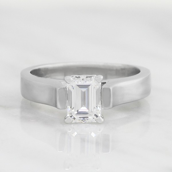 Solitaire Ring with 1.06 carat Emerald Center - Palladium - Ring Size 5.75