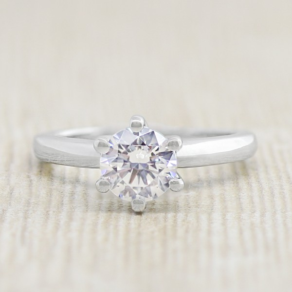 Modified Tiffany-Style Six-Prong Solitaire with 1.03 carat Round Brilliant Center Stone - Platinum - Ring Size 5.25