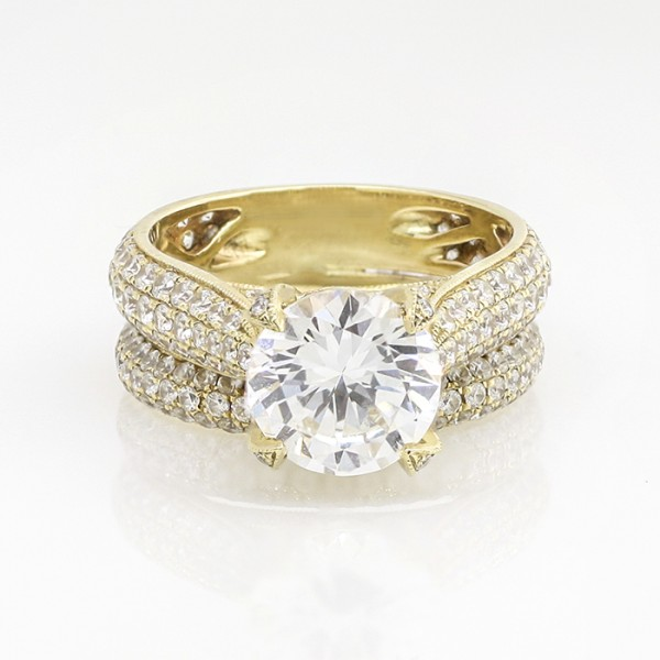 Louvre with 2.55 carat Round Brilliant Center and One Soldered Matching Band - 14k Yellow Gold - Ring Size 7.0