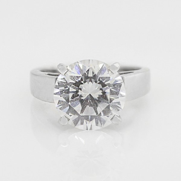 Watching Over Me with 2.75 Round Cut Center - 14k White Gold - Ring Size 5.5