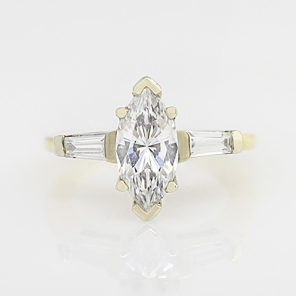 Endless Days with 1.62 Carat Marquise Cut Center - 14k Yellow gold - Ring Size 5.25-6.25